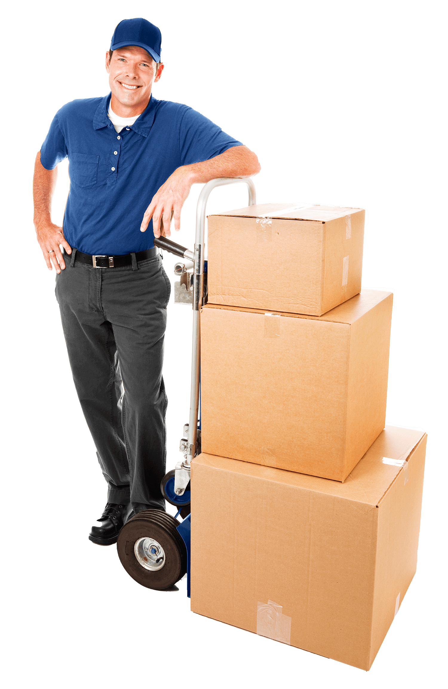 moving service professional with dolly and boxes working for sound moving northwest